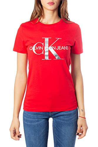 Calvin Klein Jeans Metallic Monogram Slim W T-Shirt Barbados Cherry/Soothing Sea