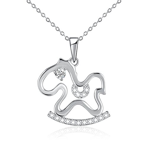 SUE'S SECRET Cute Animal Lover Rocking Horse Pendant Necklace with Crystal from Austria, 5A Zirconia Jewellery Gifts for Women/Girlfriend/Daughter/Sister/Kids/Children