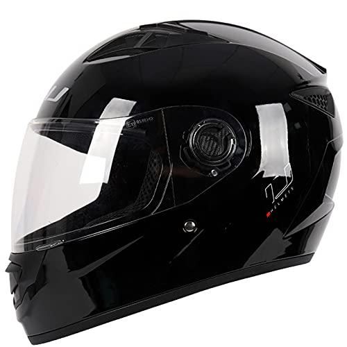 Casco Integral Para Motocicleta Unisex Para Adultos Cascos Para Motocicleta Casco De Motocross Para Hombres Mujeres DOT/ECE Casco Extraíble Four Seasons Negro (22.04-24.4 Pulgadas),B