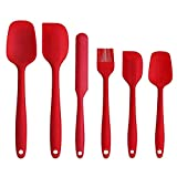 Z-MIN 6Pcs/Set Silicone Cooking Baking Tool Sets Egg Beater Spoon Spatula Oil Brush Kitchenware Kitchen Utensils Sets,Red