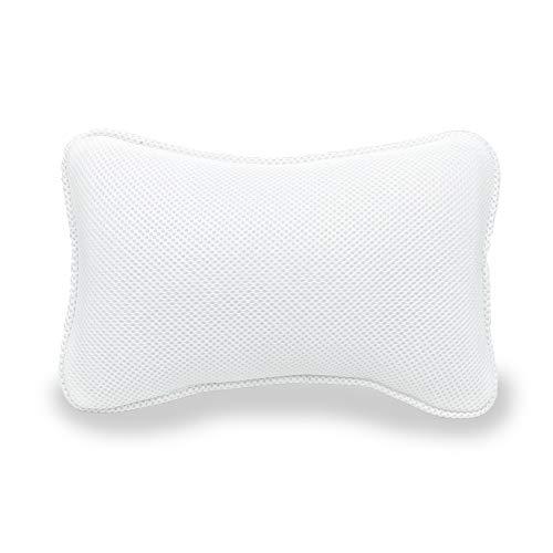 AIRMFJI バスピロー お風呂 枕 まくら 3D通気メッシュ 弾性がよい 柔らかい 吸盤付き 滑り止め付 お風呂グッズ ギフト 安眠 (ホワイト) 母の日 プレゼント