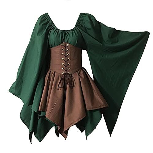 TMOYJPX Vestido Medieval Mujer Gotico Palacio Corsé Disfraz Halloween Mujer Bruja Gracioso Tallas Grandes, Disfraces Medievales Vestidos de Fiesta Elegantes (Verde oscuro+Caqui oscuro, S)
