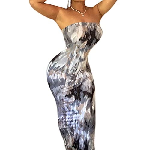 JUMISEE Women Sexy Strapless Tube Top Maxi Dress Tie Dye Off Shoulder Bodycon Long Dress Beachwear for Party Club Gray