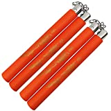 MSGUMIHO Safe Foam Rubber Training Equipment Nunchucks Nunchakus with Steel Chain 2PCS for Kids & Beginners Practice and Training (Orange)