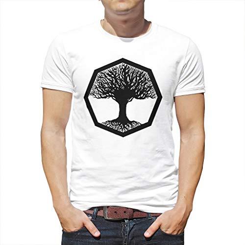 Zwarte Vikingboom van het leven geometrie totem print heren T-shirt etnische boom leven energie kunstwerk grafisch mode thee natuur korte mouwen casual zomer shirts blouse