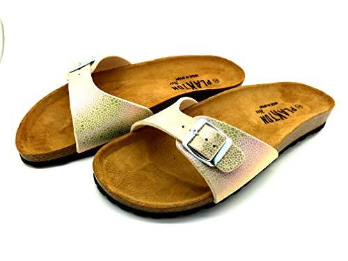 PLAKTON Chaussures Ouvertes Femme modèle BOM Cuir Platino avec Semelle liège (37)
