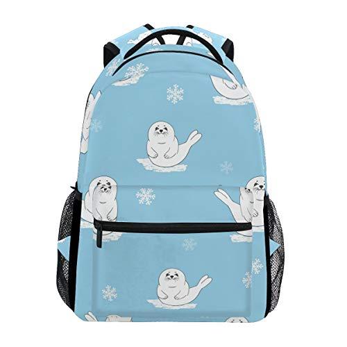 School Backpacks Cute Cartoon Baby Seal Pup Bookbags Bag for Girls Kids Elementary