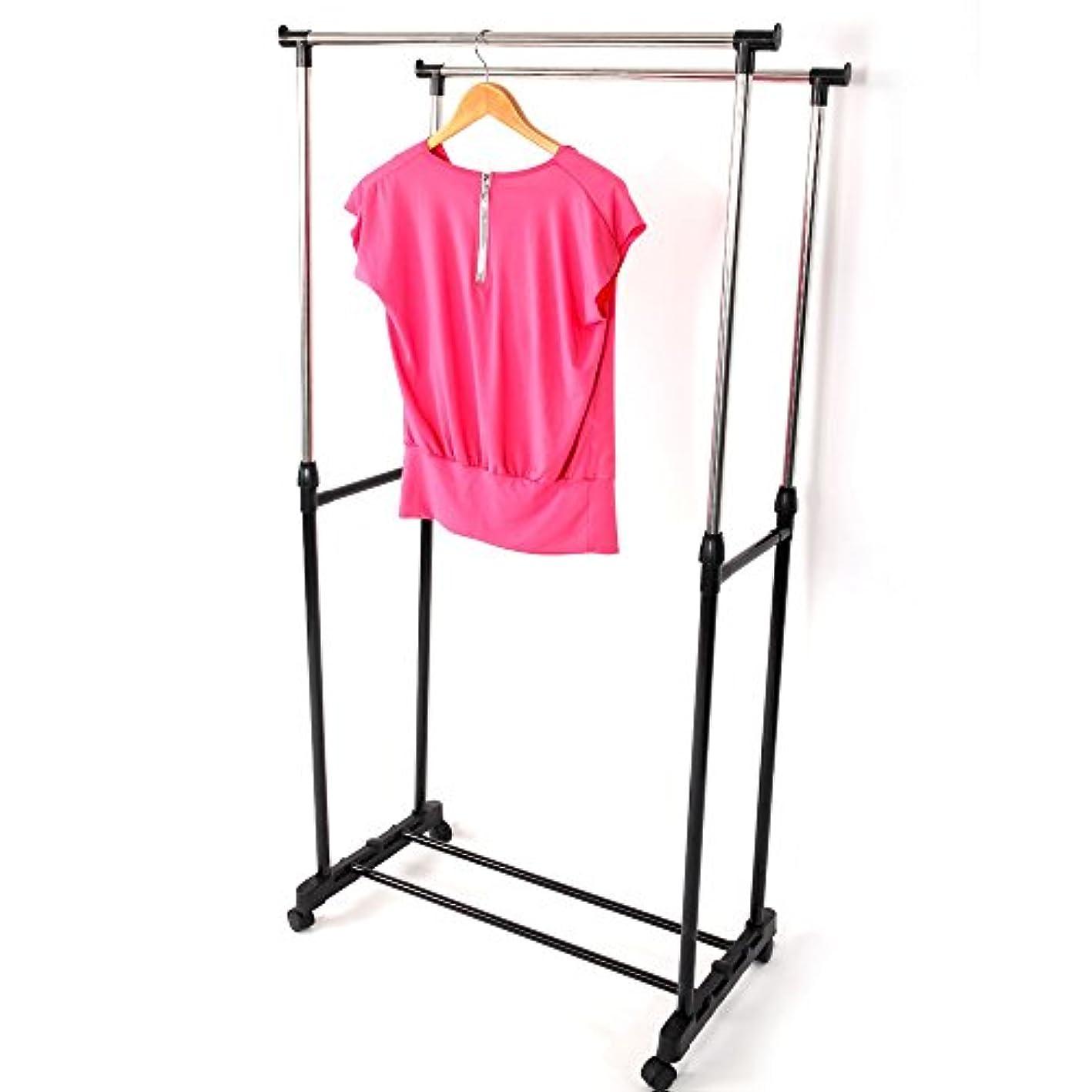Ferty Double Rail Garment Racks, Heavy Duty Adjustable Height Clothing Shoe Racks with Wheels for Home