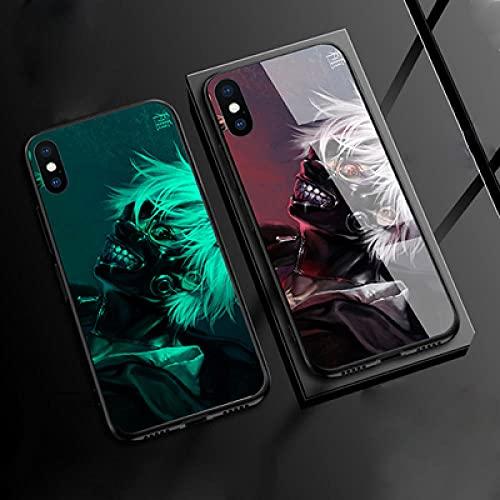 Carcasa de Telefono,Funda Protectora para iPhone Funda para Teléfono 3D Carcasa de Vidrio Templado Borde Suave Brillo Nocturno Juego Tokyo Ghoul Serie (Compatible con iPhone 11 Pro)