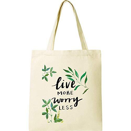 CUNYA Bolsa de lona personalizable, de 38 x 40 cm, reutilizables, con flores, impresión hermosa, lavable, bolsa de algodón para mujer, color beige (estilo 3)
