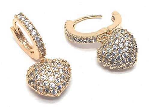 Pendientes de mujer con forma de aro con corazón multicolor y brillantes de lóbulo con caja de regalo. dorado