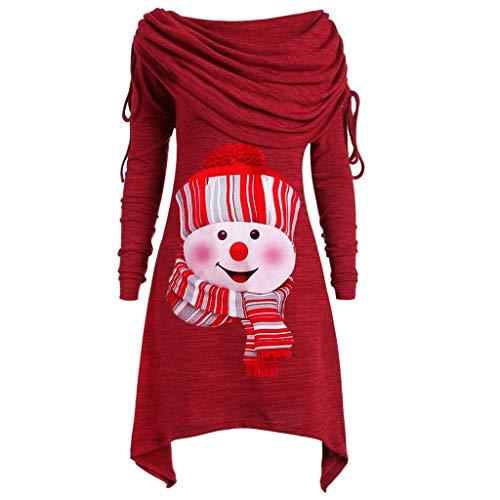 Sweat Femme Sweat Noël Femme à Manche Longue Sweat Long Bonhomme Noël Imprimé Loose Pull Rouge Shirt Sweat Pas Cher S - 5XL