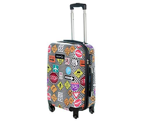 Trolley da cabina 55 cm valigia rigida 4 ruote in abs policarbonato stampato a fantasia antigraffio e impermeabile compatibile voli lowcost come Easyjet Rayanair art segnali stradali