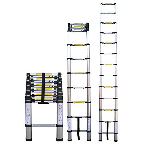 Foxmey Extension Ladder, Telescoping Ladder, 12.5ft 3.8m Telescopic Extension Step Ladder Aluminum Alloy Folding Multi Purpose (Step Ladder)