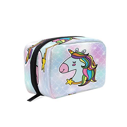 Bolsa de maquillaje BKEOY con diseño de unicornio arcoíris y escamas de peces, bolsa con cremallera, bolsa organizadora de brochas de maquillaje
