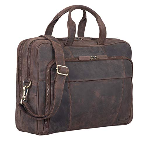 STILORD 'Jaron' Large Shoulder Bag Leather Men Women XL Laptop Bag 15.6 inches/College Bag/Portfolio/Shoulder Bag/Satchel/Business Bag Genuine Leather, Colour:Dark - Brown