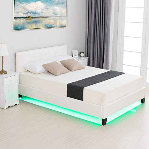 LAGRIMA Full Size LED Bed/Modern Upholstered Faux Leather Bed with 8 Color Changing LED Light / 2.8-Inch Solid Wooden Slats Support/White, Full