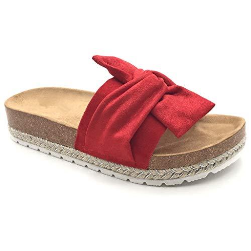 Angkorly - Dames schoenen Mule Flip-Flops - Step - Comfortabel - Strand - Knopen - met stro - kurk platte hiel 3,5 cm