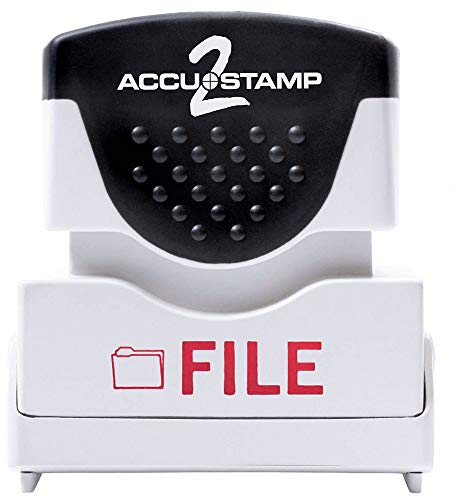 """ACCU-STAMP2 Message Stamp with Shutter, 1-Color, FILE, 1-5/8"""" x 1/2"""" Impression, Pre-Ink, Red Ink (035576)"""