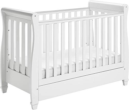 HTTER Sleigh Cot Bed with Drawer (Grey) + Mattress,white