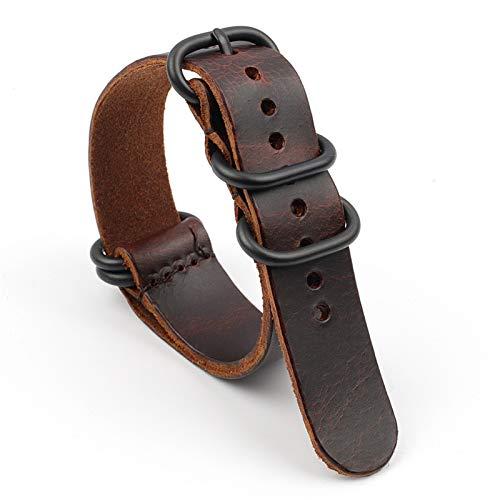 DFKai1run Uhr Lederarmband, Vintage Uhrenarmband 18mm 20mm 22mm Kaffee Lederband Rissiges Schwarzes Fünf-Ring Herrenarmband Beiläufig (Band Color : Coffee, Band Width : 20mm)