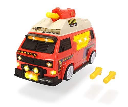 Dickie Toys 203756004 VW T3 Camper Bus-Shooting Stars, speelauto met schotfunctie, licht & geluid, rood
