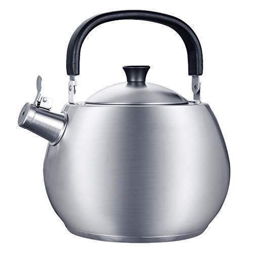 Tetera de Silbadora Caldera de té de la tetera Cocina de quemadores de 4,5 litros de acero inoxidable de la manija de agua caliente caldera que silba anti-quemaduras rápida Calefacción Silbando tetera