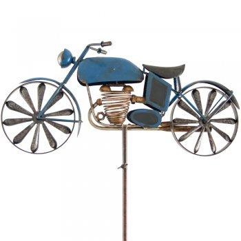 Métal éolienne – Moto – Résistant aux intempéries, avec effet antique – WIND Roues : Ø14 cm, motif : 49 x 25 cm, hauteur totale : 160 cm – avec support tige bleu
