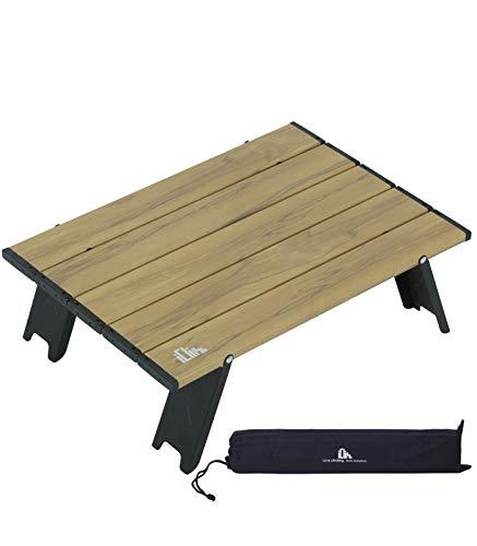 iClimb アウトドアテーブル ミニローテーブル キャンプ テーブル 折畳テーブルアルミ製 耐荷重30kg 超軽量 コンパクトソロキャンプ BBQ 登山 ツーリング 収納袋付き (S, Nature)