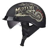 ZXJJD Casco De Motocicleta Retro, Medio Casco De Scooter De Motocicleta Unisex De Verano, Gafas Integradas De Casco Jet, Certificación ECE, Casco De Scooter Chopper A XXL