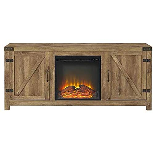 Home Accent Furnishings Tucker 58 Inch Barn Door Fireplace Television Stand in...