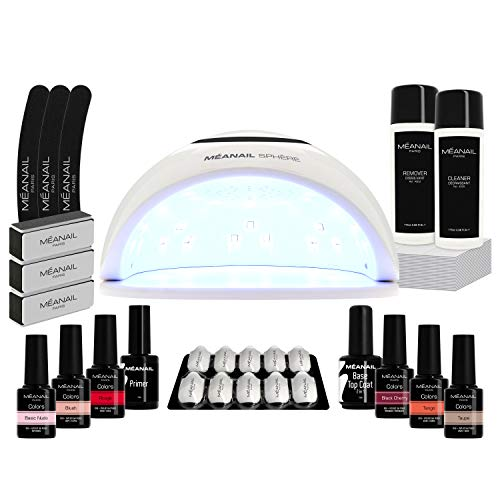 Kit Manicura Uñas Semipermanente, Lámpara LED UV 48W, 6 Esmaltes Semipermanentes, Base Coat, Top Coat, Kit Uñas de Gel Completo - Cruelty free, Méanail Paris
