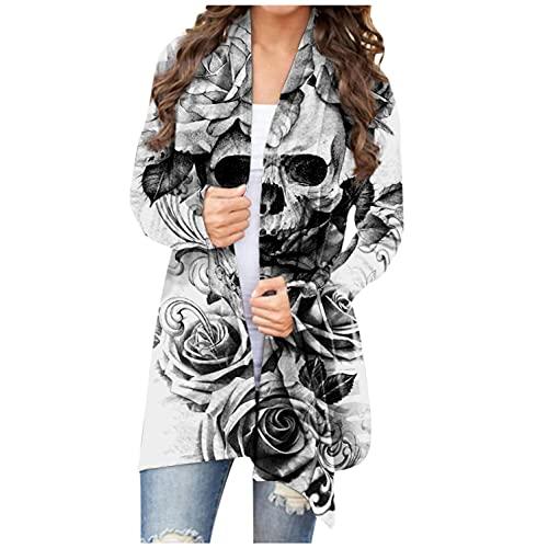 Cárdigan para mujer, de Dasongff, de manga larga, parte delantera abierta, cárdigan larga, para Halloween, fantasma, gato, calabaza, chaqueta de punto para otoño, blusa, chaqueta de manga larga