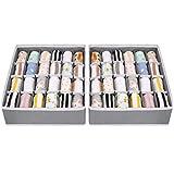 Joyoldelf 2 Stück Aufbewahrungsboxen für Socken und Unterwäsche, 24 Zellen Faltbare Boxen (Faltbox, Drawer Dividers, Schubladen Organizer Stoffboxen zum Aufbewahren von Socken(Grau)