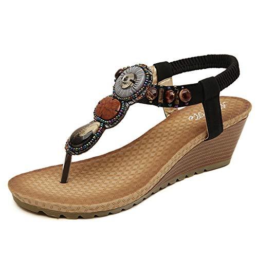 GYHIENS Damen Sandalen Zehentrenner Bohemian Strass Keil Sandaletten Sommer Strand Schuhe Wedge Sandals(37 Schwarz)