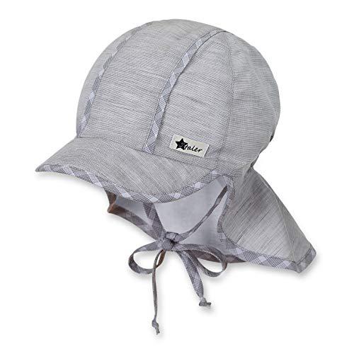Sterntaler Schirmmütze für Jungen mit Bindebändern und Nackenschutz, Alter: 18-24 Monate, Größe: 51, Rauchgrau