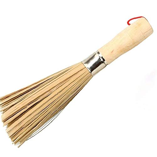 SMX Bamboo Wok Brush, Cleaning Whisk Pot Borstel Borstel Bamboo Kitchen Cleaning Tools for thuis keukens, restaurants, schoonmaakmiddelen Gereedschappen (2 Sticks)