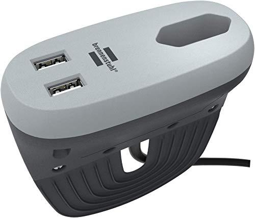 brennenstuhlestilo regleta de enchufes en forma compacta para aplicación entre muebles con 1 enchufe europeo y 2 enchufes USB (cargador USB, enchufe extra plano, diseño ) antracita/gris
