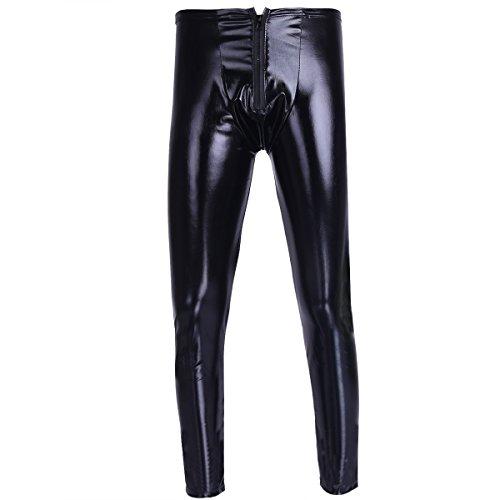YiZYiF Pantalones Largos Moto Hombres Leggins de Cuero PU Pantalones de Charol Skinny Elásticos Disfraz Punk Traje Pole Dance Nightwear Slim Fit Negro B XXL