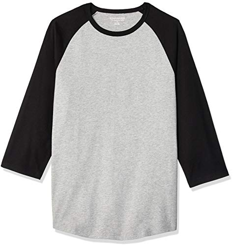 Amazon Essentials - Camiseta de béisbol para hombre (manga 3/4), Negro/Gris jaspeado claro, US S (EU S)