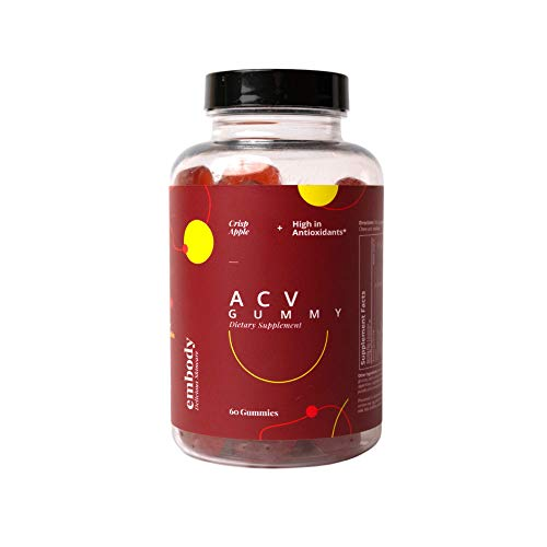 Embody Apple Cider Vinegar Gummies 1000mg ACV, Pomegranate, Beet Root, B6, B12, Folate for Gut Health, Weight Loss, Anti Inflammatory (30 Day Supply)