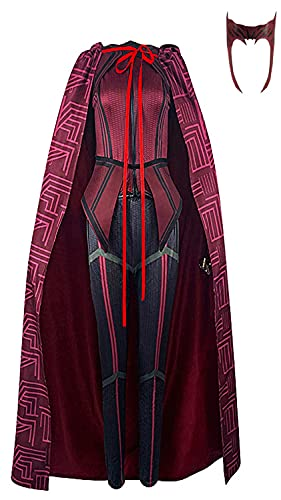 Women's Wanda Maximoff Cosplay Costume Scarlet Witch Costume Cloak Tops Pants with...