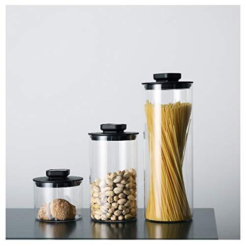 Botes de Cristal con Tapa Borrar almacenamiento de vidrio tarros, con tapas hermético, Bote estanco for la cocina, grano de café, té de hojas sueltas, galletas del caramelo jarras, un juego de 3 Recip