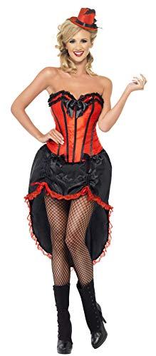 Smiffys Costume danseuse burlesque, rouge, avec corset et jupe ajustable