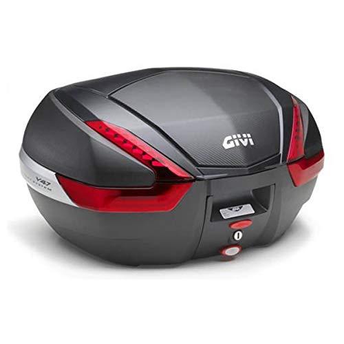 Givi V47Monokey Topcase mit Blende in Carbon-Optik und roten Reflektoren
