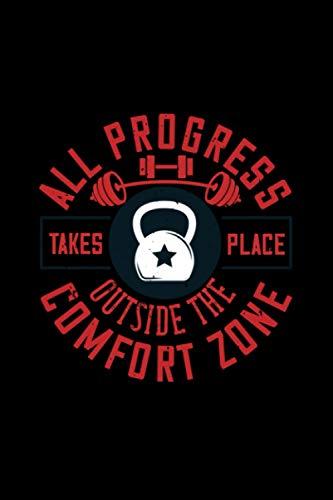 Fitness Trainer Notizbuch all progress takes place outside the comfort zone: Fitness Notizbuch und Notizheft Din A5 mit 120 karierten Seiten