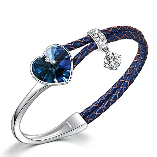 Clásico amor pulsera de mujer de cristal en piel, colgante de corazón, regalo para novia, esposa, madre o hija, azul/morado/rojo/negro/color,