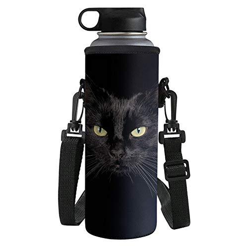 Biyejit - Portabidones de agua para gato negro con correa ajustable para mujeres, hombres, niñas y niños para hikinig running