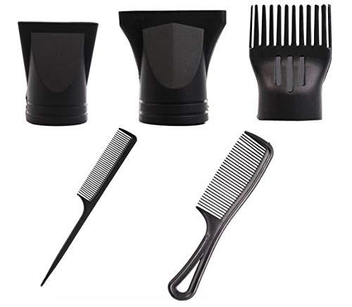 5PCS Black Plastic Salon Secador de cabello Reemplazo de boquillas Peine de pelo Conjunto Soplar Boquillas de secado de cabello Peluquería Herramientas de peinado para diámetros externos 4.0-4.8cm