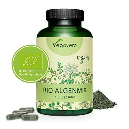 CLORELLA BIO MIX Vegavero | 1954 mg | con Spirulina e Iodio da Alga Bruna | 180 capsule | Vegan